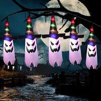 11.48ft Waterproof Ghost String Lights Battery Operated Halloween Decor, Indoor Outdoor Halloween Decorations for Home Party Yard Garden