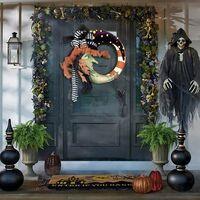 Witch Moon Wreath Halloween Wreath Halloween Christmas Party Pendant Door Hanger Burlaps Jack-o-Lantern Wreath Home Decor 40cm