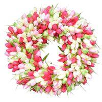 Artificial Flowe Garden Tulips Real Touch FlowerSpring Uropean-style Simulation Garland Rattan Flower Ornament Simulation Wreath