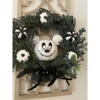 Nightmare Before Christmas Mickey Mouse Pumpkin Wreath,Exceptional Handcrafted Wreaths Inspired by Mi-ckey Mouse,Autumns Harvest Halloween Decoration Indoor Outdoor Decor