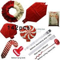 Christmas Balloon Garland Arch kit 144 Pieces with Christmas Red White Candy Balloons Gift Box Balloons Red Star Balloons for Christmas Party Decorations
