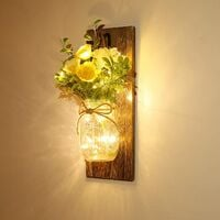 Wall Decor Mason Jar Sconces - Home Decor Wall Art Hanging Design with Remote Control LED Fairy Lights and Yellow Rose, Farmhouse Wall Decorations for Bedroom Living Room Lights Set of Two