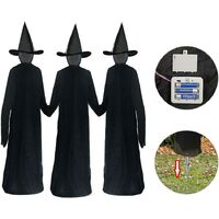 Halloween Decorations Outdoor - Large Light Up Holding Hands Screaming Witches Sound-Activated Sensor(Set of 3) - Life Size Scary Decor for Home Outside Yard Lawn Garden Party Decoraciones Brujas de