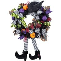 Christmas Decoration,Halloween Decorations ,Witch,Skull Wreath Haunted House Decoration ,Christmas Party Pendant (Witch wreath)