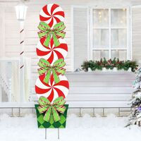 Candy Christmas Decorations Outdoor - 44In Peppermint Xmas Yard Stakes - Giant Holiday Decor Signs for Home Lawn Pathway Walkway Candyland Themed Party - Red White Green