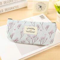 Pencil Case, Cute Floral Flower Canvas Zipper Pencil Cases Lovely Fabric Flower Tree Pen Bags School Supplies 4 Pcs