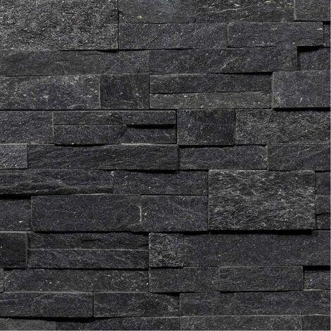 Parement Quartzite Shiny Black ép.2/3cm - vendu par lot de 0.522 m² - Noir