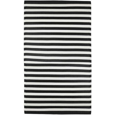 MICA DECORATIONS *ult. unidades* alfombra para exterior color negro modelo rallas 180x120cm   polipropileno