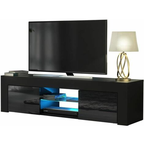 LED TV Stand Unit for Living Room - High Gloss Entire Front - 130 cm - TV Table Bench Cabinet Cupboard - Black - USB switch