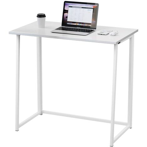 Dripex Compact Folding Desk Required Computer Desk Folding Hobby Craft Table (White)