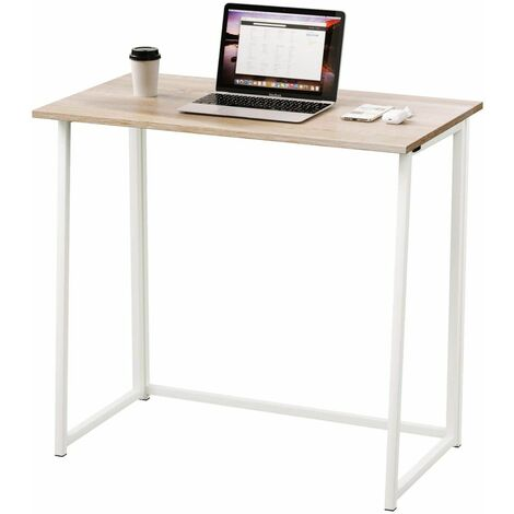 Dripex Compact Folding Desk Required Computer Desk Folding Hobby Craft Table (Oak )