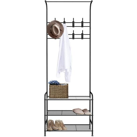 Metal Hat and Coat Stand Hallway Shoe Rack and Bench with Shelves Storage Organiser with Hooks Matte Metal Frame H180CM