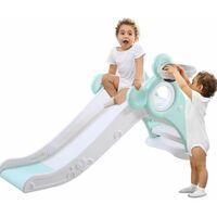 Slide for Children, Kids Toddler Indoor and Outdoor Freestanding Garden Slide Slide Set with Basketball Hoop Green