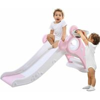 Slide for Children, Kids Toddler Indoor and Outdoor Freestanding Garden Slide Slide Set with Basketball Hoop Pink