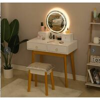 White Dressing Table with LED Adjustable Brightness Touch Lights Mirror Stool 2 Drawers including stool