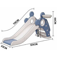 Slide for Children, Kids Toddler Indoor and Outdoor Freestanding Garden Slide Slide Set with Basketball Hoop Blue