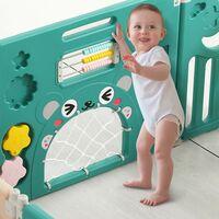 12+2 Foldable Plastic Baby Playpen Indoor& Outdoor With Optional Playmats(Brown/green)