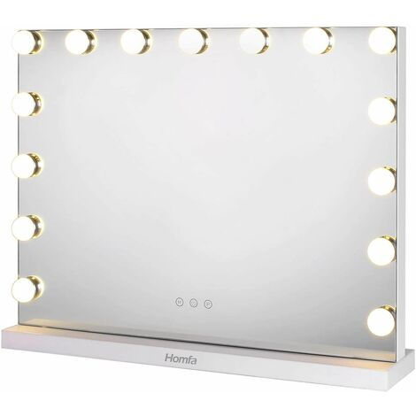 Bamny Vanity Mirror with LED Lights Makeup Mirror Hollywood Cosmetic Mirror with 15 LED Bulbs and 3 Dimmable Lights for Makeup Dressing Table White 58×45.5cm