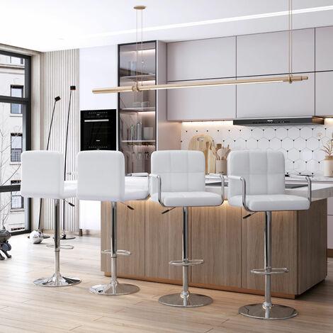 Bamny Bar Stools Set of 2, armrests imitation leather outside, adjustable rotary gas lift, chrome footrest for breakfast bar white
