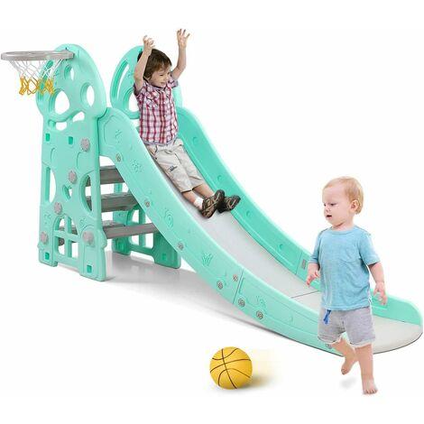 Bamny Kids Slide Outdoor Garden Children Toys for Toddlers, Large Slide for Toddlers Babies Toys Activity, Freestanding Slide for Children, with Basketball Hoop, Up to 25Kg
