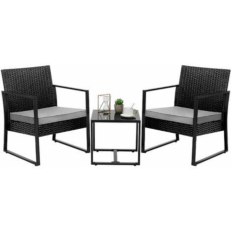 Bamny Garden Furniture Set 3 Pieces Chair Table Cushion Keter Outdoor Patio Balcony UK