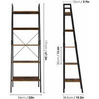 Bamny Ladder Bookshelf Shelving Unit 5 Tier Bookcase Plant Stand Leaning Shelves Storage Rack Metal Frame 56x38.5x171cm