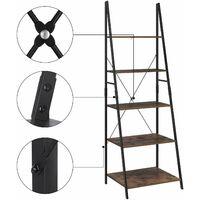 Bamny Ladder Shelf 5 Tier Leaning Bookcase Industrial Bookshelf Storage Shelving Unit 60x50.3x180.5cm