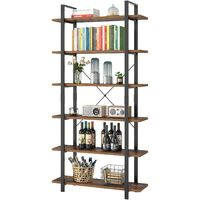 Bamny Bookcase 6 Tier Industrial Bookshelf Free Standing Shelving Unit Vintage Display Shelf Storage Rack for Home and Office 105.2x33x210.5cm