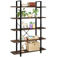 Bamny Bookshelf 5 Tier Industrial Bookshelf Free Standing Shelving Unit Vintage Display Shelf Storage shelf for Home and Office 105.2x33x177.5cm