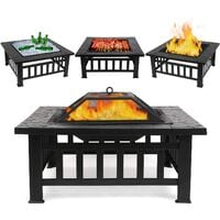 """Bamny Fire Pit Table Outdoor with BBQ Grill Shelf, Multifunctional Garden Terrace Fire Bowl Heater/BBQ/Ice Pit, 32"""" Diameter Square Fireplace with Waterproof Cover"""
