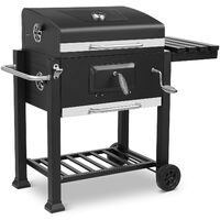 Bamny Trolley Charcoal Grill XXL, with 3 Grill Grates, Thermometer, Ashtray, Shelves with Hooks, Adjustable Charcoal Tray & Ventilation, 2 Wheels, Large Grill Area(113x53.5x100 cm)