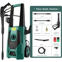 Bamny Electric Pressure Washer/ Power Jet Patio Cleaner, 1800W Power Washer, Max 160Bar 240L/H, 2320 PSI High Pressure Jet Washer With 20ft Hose, Spray Gun for Home Garden Furniture Walls Deep Cleaning
