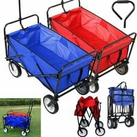 Bamny Folding Wagon Folding Trolley Handcart Outdoor Wheelbarrow Beach Cart Folding Wagon Outdoor Garden Trailer Transport Trolley for All Terrain Load Capacity 80 kg (Red)