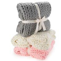Coperta di lana a maglia grossa - coperta a maglia, coperta accogliente come un plaid - 180 x 120 cm - grigia