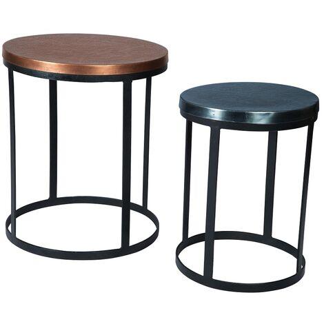 Century Round Reclaimed Metal Nest of 2 Tables, 2 Tone Colour - Multicolour