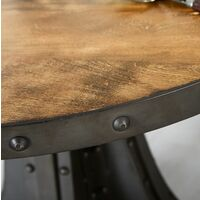 Urban Industrial Round Dining Table with Metal Silver Chairs - Medium Wood