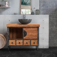 Petit meuble de salle de bain industriel en teck massif et métal CHANI - Naturel - Naturel