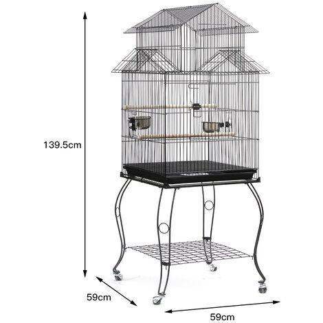 SiFree®Cage pour les Oiseaux 59 x 59 x 145 cm Cage sur Roulettes Canaries Perroquet Perruches Calopsittes Pinson Inséparables