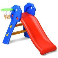 Toboggan Aire de Jeux Pliable avec Panier de Basket en Plastique Toboggan pour Enfants 3-8 Ans Multicolore 108 x 58 x 71,5CM