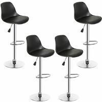 SiFree®Lot de 4 tabourets de bar design noir