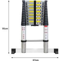 4.7M Échelle Télescopique Portable Échelle Escamotable En Aluminium 15 Echelons, 150 kg