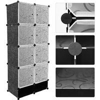 SiFree®Armoire Penderie étagère de rangement modulables plastiques noir imprimé cabinet avec Armoire avec Chaussures