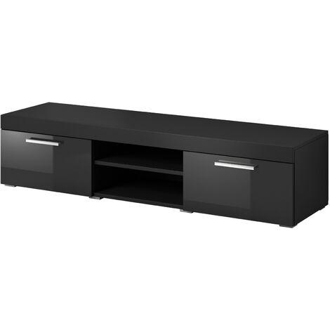 e-Com - Meuble TV Paris - 140 cm - Mat Noir et Noir Brillant - Noir
