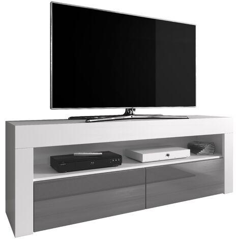 e-Com - Meuble TV Armoire tele Table television LUNA - 140 cm - Mat Blanc et Gris Brillant - Gris