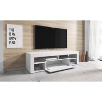 e-Com - Meuble TV Armoire tele Table television TITAN - 140 cm - Blanc / Gris - Gris