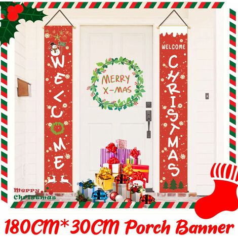 1 Set Merry Christmas Banner Outdoor Decoration For Home Hanging Pendant Christmas Curtain (Size: 30x180cm)