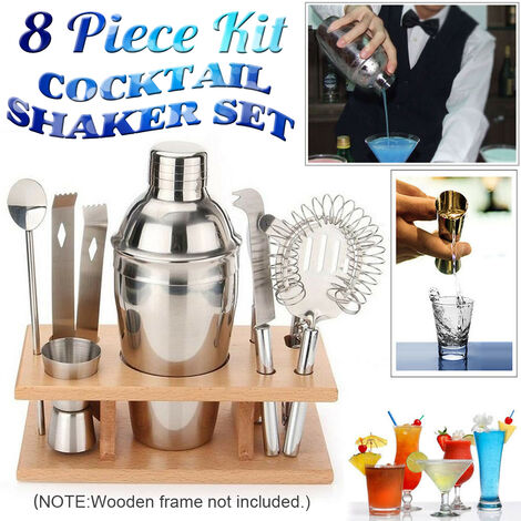 8 Pcs Stainless Steel Cocktail Shaker Drink Mixer Bar Pub Bartender Tool Kit
