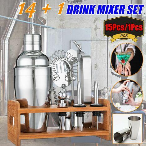 15pcs / set / 1pcs 550/600 / 800ML Stainless Steel Cocktail Bartender Bar Set Drink Mixer Bar Bartender Kit Jigger Colander Opener Christmas Gift