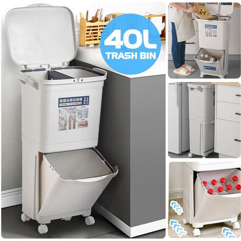 40L Waste Bin Double Deck Sorting Bins Single Lid Kitchen Waste Bin