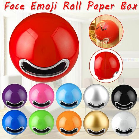 Bathroom Ball Shaped Face Emoji Wall Mounted Toilet Paper Holder Paper Roll Box (Red)